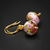 Venetian Murano glass pink rose and vermeil gold drop earrings.