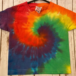 Hand tie dye kids Rainbow Swirl T-shirt size 1 to 2 years