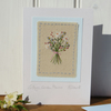Cottage Garden Flowers hand-stitched miniature on card, delicate & detailed
