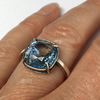 Antique sterling silver Swarovski crystal ring, adjustable, Erinite