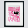 Farmyard Cow hand pulled screen print framed