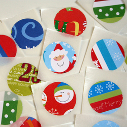 Set of 20 bright upcycled Christmas stickers