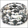 Grey Glass Pearl Memory Wire Bracelet