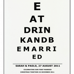 Eye Sight Chart - First Christmas - Eat Drink and Be Married - Giclee Print