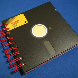 Black 5.25 inch recycled floppy notebook