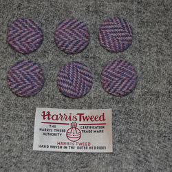 6 x Pink and Purple Herringbone Harris Tweed Wool Fabric Covered Buttons