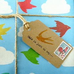 Gift tags x 5 - postage stamp