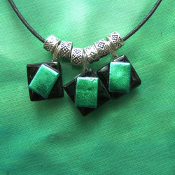 REDUCED Green & Black Three Square Dichroic Glass Pendant
