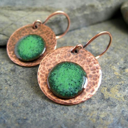 Green Enamel Earrings Copper Disc