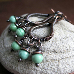 Hoop Style Copper Earrings Turquoise Bead Wire Wrapped