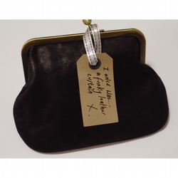 Sally - Vintage Chocolate Leather Frame Purse, Clutch, Make-up bag