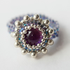 Purple Dichroic Glass Beadwoven Ring