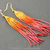 Firebird long beadwoven earrings