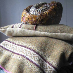 Fair isle Blanket Pure Wool Olive