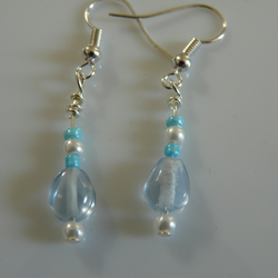 Blue and White Glass Earrings