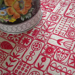 scandi screen printed fabric in london bus red