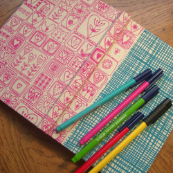 weave and sweetheart A5 screenprinted fabric notebook OR sketchbook