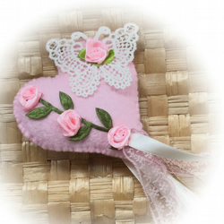 Pink Floral Fairy Wand - hand stitched padded heart with roses and butterfly