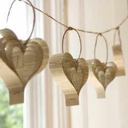 Wedding Decorations, Heart Garland, Shakespeare Hearts, Cream Bunting