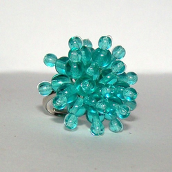 Teal Beaded Cocktail Ring ***SALE***
