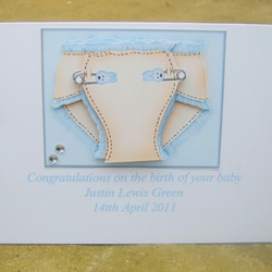 Personalised Nappy Baby boy card