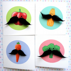 FOUR VEGGIE MOUSTACHE GREETINGS CARD