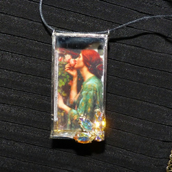 3D art Necklace shadow box pendant Waterhouse The Soul of the Rose