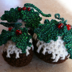 Crochet Christmas Pudding Hanging Tree Ornament