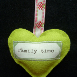 Green Woollen 'Family Time' Hanging Heart