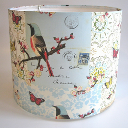 Vintage Bird & Butterfly handmade lampshade