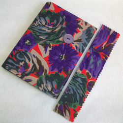 A6 notebook with removeable fabric cover and matching bookmark - vintage Liberty