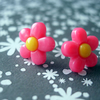 Little Hot Pink and Yellow Flower stud earrings