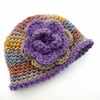 3 to 6 month Crochet baby hat  Purple Green