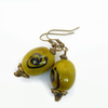 Antique Bronze Bead Earrings Olive Green