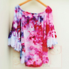 Hand Dyed Frill Floaty Gypsy Pink Top Size Medium