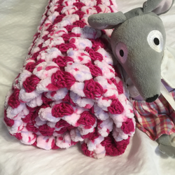 Crochet supersoft baby blanket - pink - baby girl - christening gift