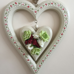 Painted wooden heart - hanging wooden double heart - heart and flowers