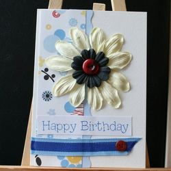 Cream and Blue Flower Happy Birthday card