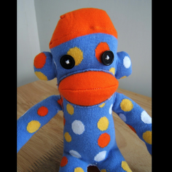 blue spotty sock monkey (medium)