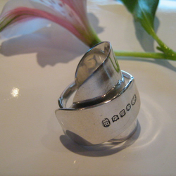 SILVER SPOON RING - INVERTED HALLMARK