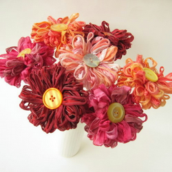 7 Flower Ribbon and Button Bouquet, Custom Colours