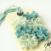 Ribbon Flowers, mint green and blue set of 6 appliques