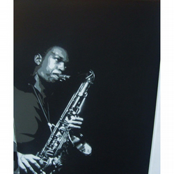 JOHN COLTRANE hand painted canvas pop art original stencil artwork