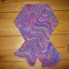 Hand Knit  Scarf in Pinks, Purples and Green