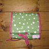 SALE ! Wash Bag In Olive Green Dot Fabric with Pink Trim