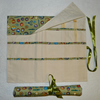 Knitting Needle Roll in Sewing Print  Fabric  with 3 Pairs Bamboo Needles