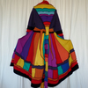 Rainbow Upcycled Coat with Long Hood  Zip Front Pockets Waist and Neck Ties.
