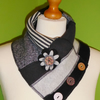 Neck Warmer Scarf with 3 button Trim. Upcycled Cowl. Felt Flower. Black and grey