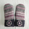 Mittens Created from Recycled Wool Jumpers. Fully Lined. Fair Isle Purple Cuff
