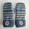 Mittens Created from Up-cycled Wool Jumpers.Fully Lined. Blue Grey Stripe